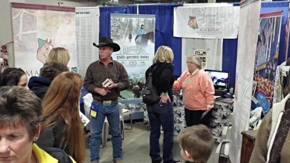 Not an Island photo, but very Island related.  The Mackinac Island Horseman Association was in attendance this weekend in Lansing at the Michigan State University's Horse Expo.  Jill took this photo, showing Cowboy Bob (who appears each year at the Island's Festival of the Horse, and Frankie Thill, working as a volunteer.