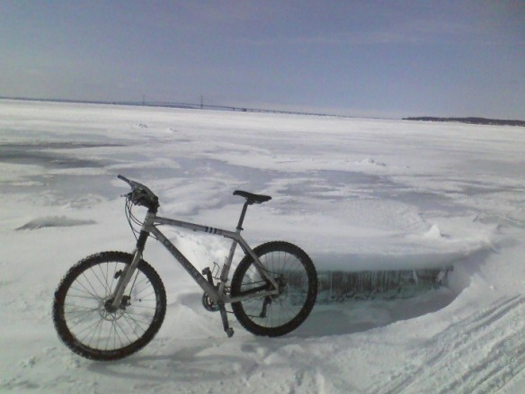 Friend Tim Leeper rode his bicycle out on the ice this past week (gulp) and posted this photo.