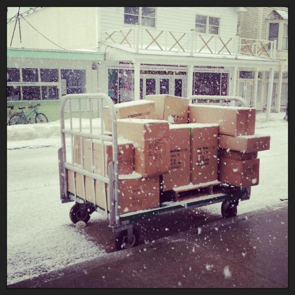 April 4 and it is snowing on the island.  That cart just arrived with the first of this year's merchandise for Little Luxuries of Mackinac Island.  Have I mentioned that Nicole's shop will be twice as large this year?!  Oh my goodness, do NOT tell Ted!