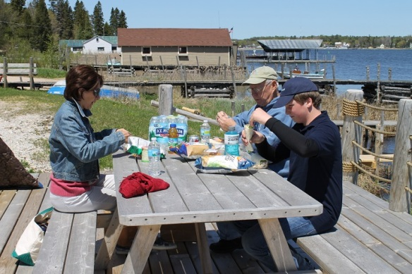 We all piled into Orietta's car in St. Ignace and made the 45-minute drive to Cedarville.  A quick stop at a grocery store, and we had the makings for lunch in the sun, which we enjoyed on a picnic table at the Viking Boat Harbor dock.