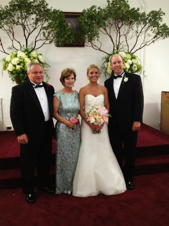 Beautiful bride Brett and her handsome husband Jack, with Midge and husband Clay.