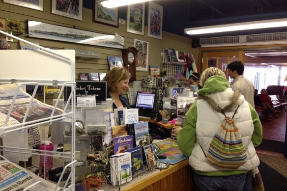 After lunch I popped into the Island Bookstore to get Ted a newspaper and found Mary Jane Barnwell, one of the store's owners busy at the cash register . . .