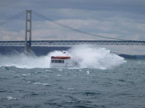 Clark Bloswick posted this photo tonight of one of the Shepler boats coming back from the Island this afternoon.  Yep - pretty bumpy - but safe and dry on the inside!