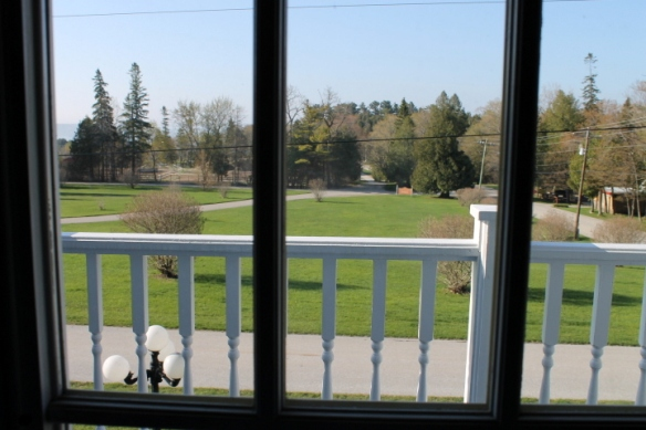 View through Master Bedroom French Doors of Surrey Hill and Lake Huron