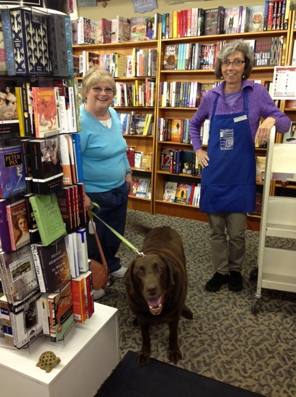 My friend Frankie and sweet Hershey are on the Island for a few days.  They stopped in to see Jill at the Island Bookstore.