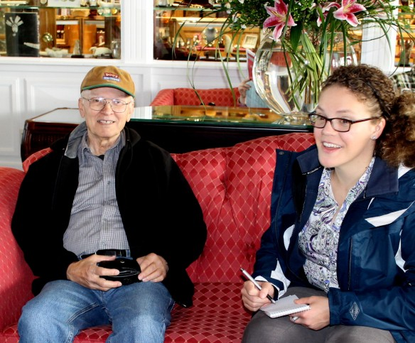 """Soon our reporter from The St. Ignace News/Town Crier arrived - Stephanie Fortino.  She went along with our little """"fib"""" about ordering a taxi to take us to Arch Rock for her interview with Lowell."""