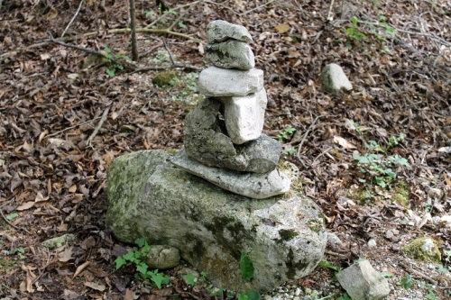 , , , this rock cairn someone had recently formed!  For Bear, who knows every rock and branch and tree out here, this was different and therefore worth