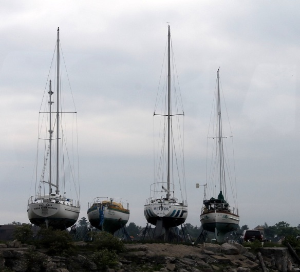 From a trip to Mac City - out-of-the-water sailboats at the marina.