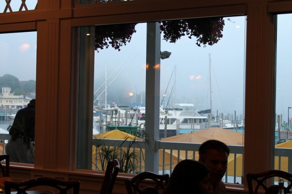 We ate in the Chippewa one evening and watched the fog roll into the harbor . . .