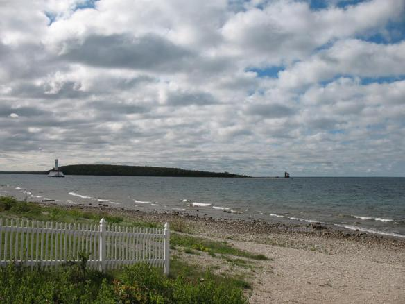 From Windermere Point.  (l-r) Round Island Passage Light, Round Island and the Round Island Lighthouse.