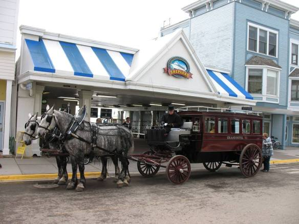The Grand Hotel horses and omnibus - waiting in front of Shepler's Ferry dock.