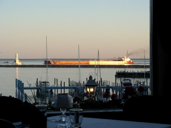 We haven't eaten there in several years.  I don't know why except it's a little further to walk.  Our dinner was excellent, and the view of the Straits and the freighters passing between the lighthouses just don't get much better than this!