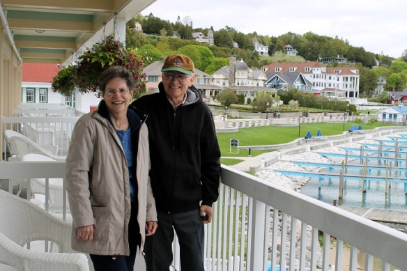The Chippewa gave them an awesome suite that overlooks the Mackinac Island Marina.  From their balcony they can look toward the east side of town and will be able to hear the clip-clop of horses early in the morning.