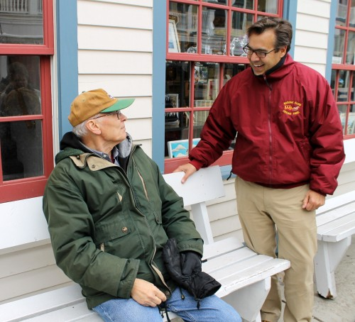 Something totally unplanned happened as we walked down to the ferry.  As Lowell sat down to rest a moment, Brad Chambers walked by, and we introduced him to Lowell.  Brad now lives in the family home on Cadotte where Lowell stayed when he worked on the Island.  Lowell told him about sitting on the porch with a pair of binoculars, watching as the Mackinac Bridge was built.  So another connection was made - past to present.