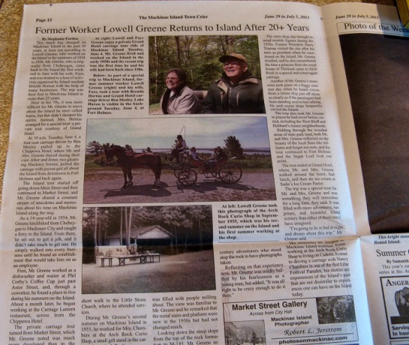 The article reporter Stephanie Fortino wrote on Lowell and Faye's visit to the Island appeared in this week's Town Crier!