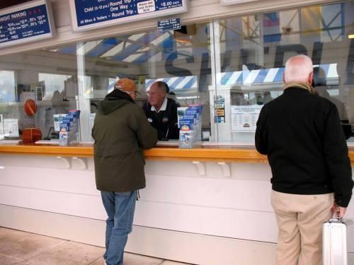 Lowell talking to Captain Bill Shepler, who owns Shepler's Ferry Line.