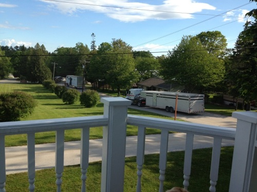 Things you don't see everyday on Mackinac . . . three semi-trucks on your street, turning into the  Arrowhead Livery.