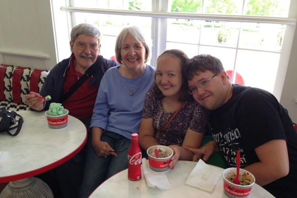 This beautiful family, Theresa, Allen, Amelia and Michael - from Tecumseh MI, met me last week at Sadie's for ice cream. Theresa is a frequent commenter on Bree's Blog and follows us in Georgia during the winter also.