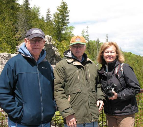 Ted, Lowell and Brenda on the lookout platform at Arch Rock.