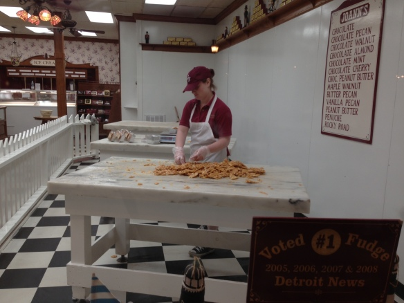 . . . and while we waited, I walked down to JoAnn's Fudge and watched a night worker finish up some peanut brittle.