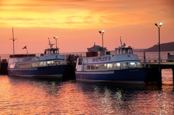 A beautiful sunset shot of two Shepler boats by Shepler Captain Pat Springate.