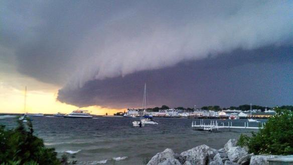 """This is called a shelf cloud and made me think of the scene from the movie Independence Day.    After this was posted on Facebook by  Becky Larson Sulfridge, someone commented, """"It looks like the island is about to be swallowed up."""""""