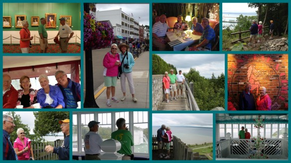We visited the Grand, ate at the Chippewa Hotel, saw Anne's Tablet, hiked Pontiac Trail, climbed to Robinson's Folly (where there was some kissing) and admired the East and West Bluffs. We also ate at the Pink Pony and rode through the woods on a taxi to eat at The Woods Restaurant.  (Click collage to enlarge.)
