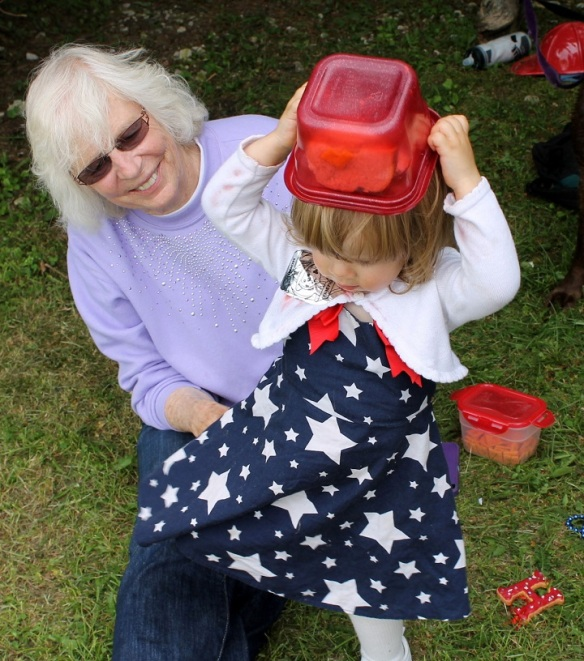 Joan's granddaughter, Jenavieve, showed off her 4th of July dress . . .