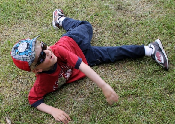 . . . while her grandson, Jordan, rolled around on the ground - just like little boys so often do!