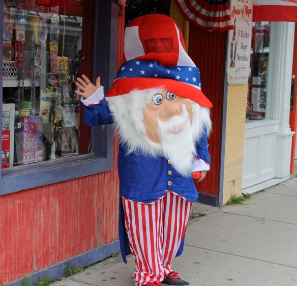 "Before going home for a nap, we took a short walk through town, where we spotted ""Uncle Sam"" outside the Magic Store . . ."