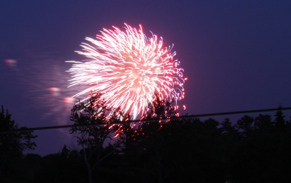 Even with my new camera, I still can't capture fireworks, but this was my best shot.  I've got to learn how to do better on that.