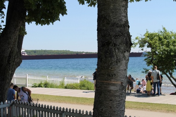 A huge freighter slips past the lighthouses . . .