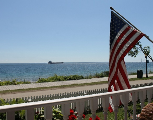 . . . and continues west toward the Mackinac Bridge.