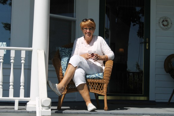 Sweet friend Bonnie has been on the Island for a few days, and today we spotted her on a front porch on the boardwalk.  It was good to visit with her for a while!