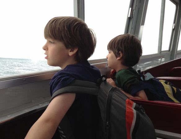 We shared the St. Ignace ferry with the Westpauls and their boys Declan and Owen who were headed into the U.P. for a few more days of vacation.  The boys got to sound the captain's horn from the pilot house as we were leaving the dock.