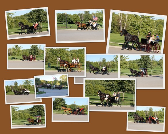 Photos of the carriage parade on Friday evening.  The parade began at Mission Point, went up Main Street, turned on Cadotte, went in front of the Grand Hotel and ended on the West Bluff.  (Click on collage to enlarge photos.)