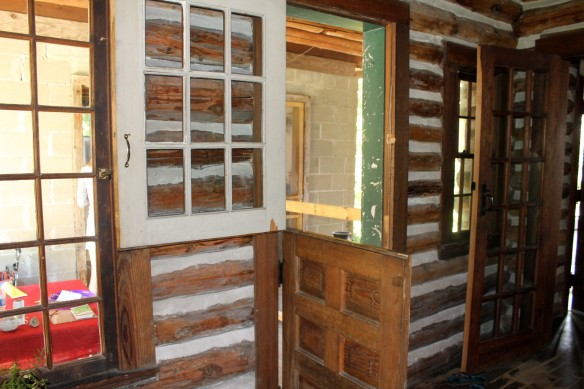 Even though the outside of the lodge is pretty dilapidated in some areas, after they cleared the inside of insects, bats and other little critters, they were amazed to find the inner walls in fairly good condition.