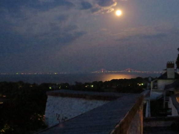 A middle-of-the-night view of the Straits from somewhere inside Fort Mackinac. (Credit:  Clark Bloswick)
