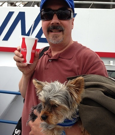 The first time I spotted Stu this spring he was getting on the ferry with with JoJo.
