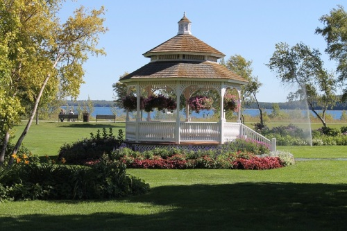 Each year the gazebo's flowers get more beautiful.