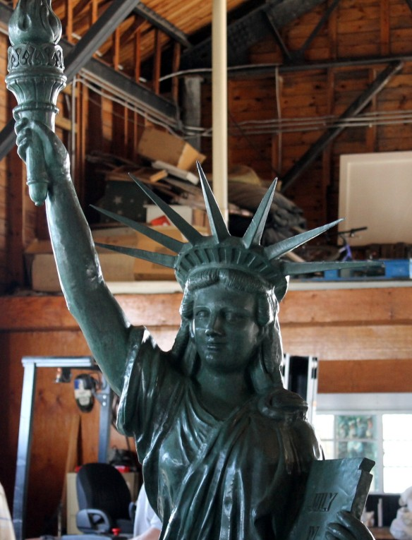 Yes - compared to her big sister in New York City, she was shorter and weighed less - but she was still the United States symbol of freedom from tyranny and oppression