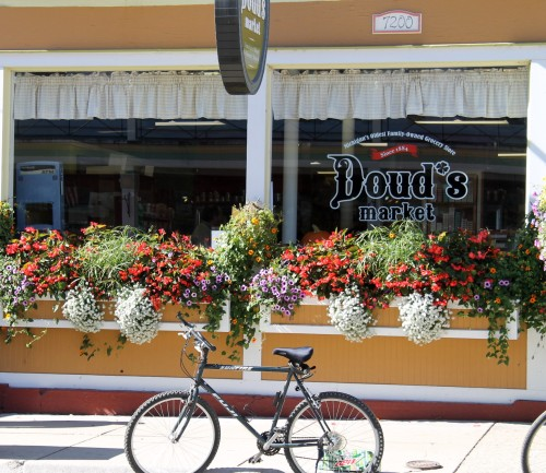 Doud's Market.  I remember these window boxes in the spring when they first were planted.  They have thrived all summer, and right now they are peaking!