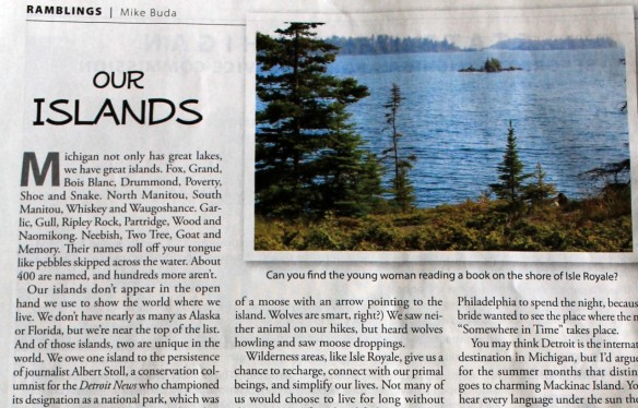 . . . a nice article written by Mike Buda, editor emeritus of Country Lines, entitled Our Islands.  Mike highlights the two Michigan islands where motorized vehicles aren't allowed 0 Isle Royale and Mackinac.  And at the end of the article . . .