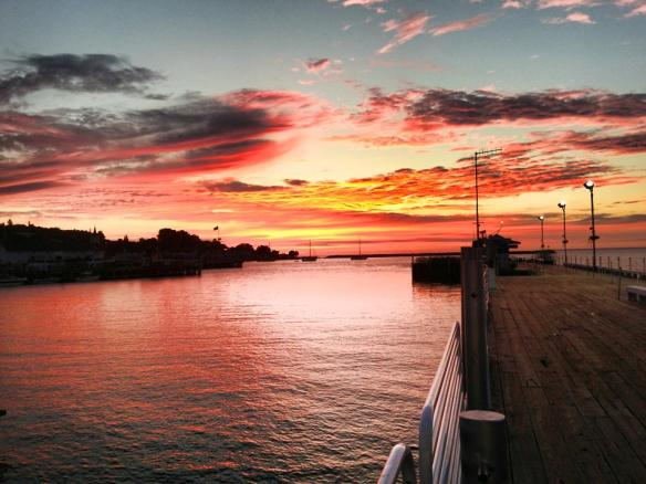 Tuesday's spectacular sunrise from Mackinac Island's Shepler dock.  (Photo: Shepler's Ferry Line)