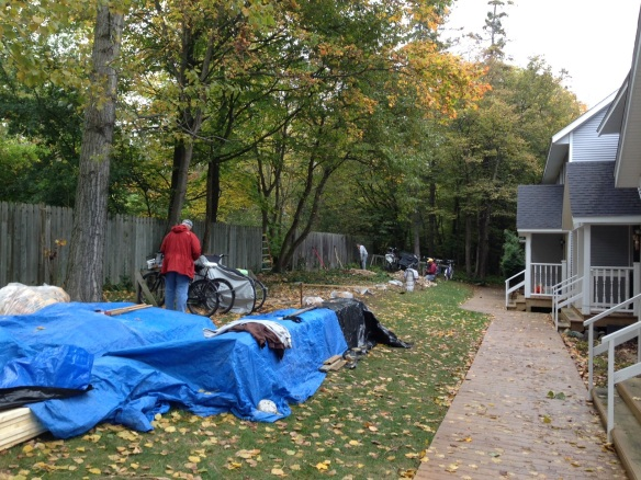 The condo owners voted at the summer meeting to have storage sheds built, and they were begun last week . . .