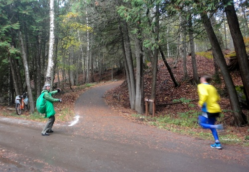 Jill was SO HAPPY I wasn't coming out for the race because she was dressing in a turtle outfit to man the water station at Arch Rock for the runners.  She DID NOT want her photo taken.  But Ted went out there and snapped this one of her directing traffic, and of course I'm posting it!