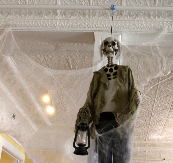 The lobby of the Chippewa Hotel is decorated for Halloween . . .