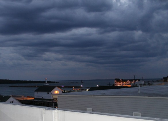 Looking over roof tops to the lighthouses