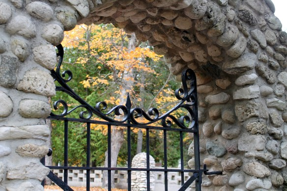 Through a gate at St. Anne's Cemetery.