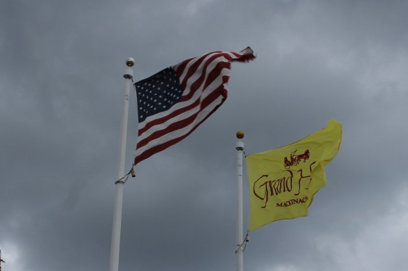 The flags at the Gate House weren't getting any rest at all as we walked by.  The winds had them standing straight out